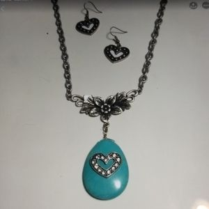 Silver Genuine Turquoise Floral & Hearts Set